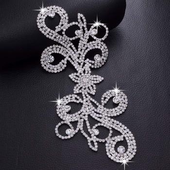 2pcs/lot Rhinestones flower bridal dress belt patches appliques crystal appliques for women DIY sewing accessories strass trim фото