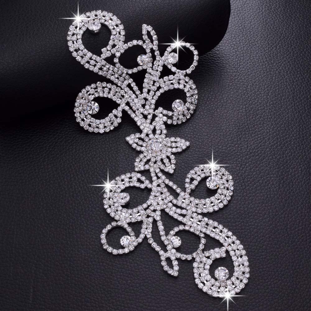 Silver Rhinestone Diamante//Diamond Motif Sew on Wedding Crystal Applique 89