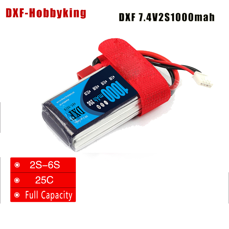 2017 1pcs DXF <font><b>Lipo</b></font> Battery 7.4V <font><b>1000mAh</b></font> 25C <font><b>2S</b></font> JST Plug For RC Drone Models Helicopters Airplanes Cars Boat Batteria image