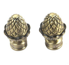 2pcslot for 25 mm rod europe style vintage aluminum alloy bronze pinecone roman rod head curtain accessories