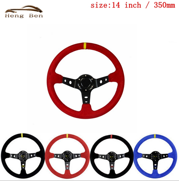 HB 14 inch Universal OMP Deep Corn Drifting Steering Wheel Water-Proof Slip-Resistant Racing Car Steering Wheel