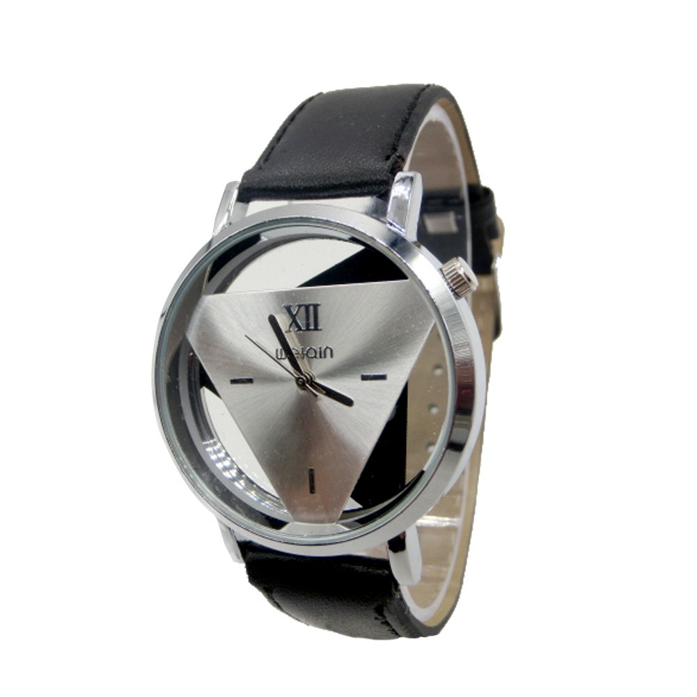 Couple Wristwatch Leather Strap Watches Triangle Hollow Out Ladies Women Men Quartz Watch Dress Watch TT@88