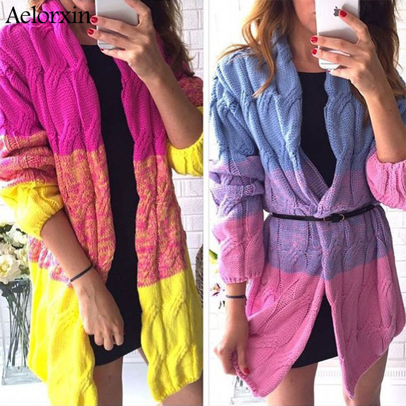 Women Cardigan Long Sweater Full Sleeve Candy colors Casual V neck Patchwork Cardigans Sweater Women Female cardigan