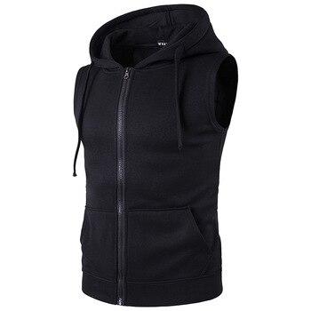 2020 Summer New Mens Sleeveless Cotton Zipper Pocket Hoodies Fashion Casual Hooded Sweatshirt Hip Hop Hoodie