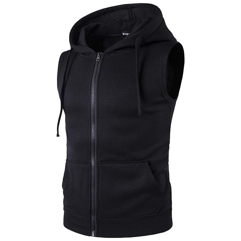 MarKyi 2017 New Men's Sleeveless Cotton Zipper Pocket Hoodies Fashion Casual Hooded Sweatshirt Hip Hop Hoodie Sportswear For Men