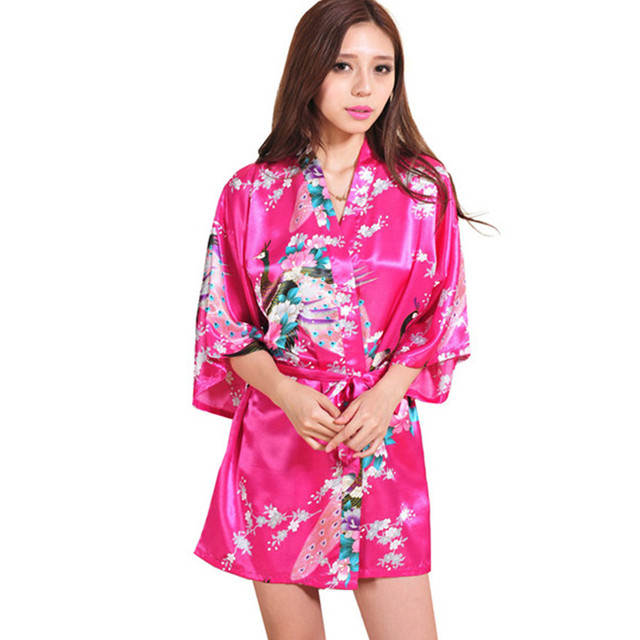 Hot Pink Chinese Women Silk Rayon Mini Robe Sexy Kimono Bath Gown Charming  Intimate Lingerie Pajama 6b1a008223a6