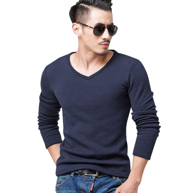 2018 Autumn Winter Fleece lined T shirt Fashion Men Velvet Undershirts Thermal Homme Casual V Neck Cotton Men's Long Johns S-5XL
