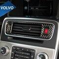 Углеродного Волокна для Volvo S60 V60 Автомобиль Центральной Консоли Воздуха На Выходе Кондиционер Вентиляционные Декоративные Рамка Наклейки Стайлинга Автомобилей