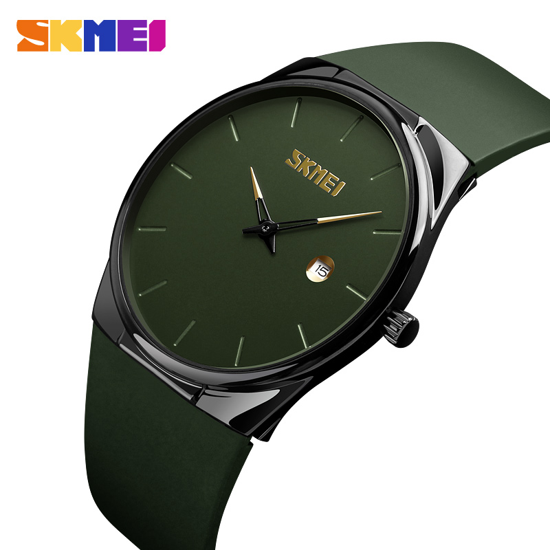 SKMEI Quartz Watch Men Lady Fashion Mens Women Wristwatches Waterproof PU Small Dial Watches Army Green Relogio Masc 1509