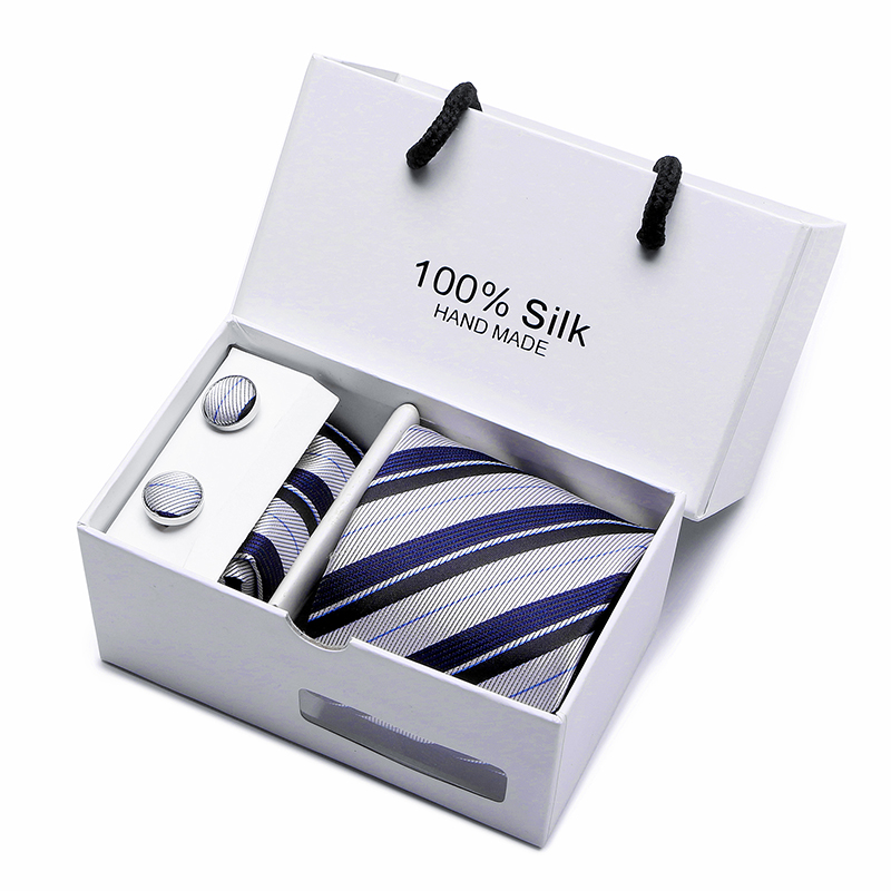 Image 4 - 2 pcs/lot 3.35inch(7 Cm) Wide Ensemble Silver Paisley Man Tie, Handkerchief and Cufflinks Gift Box Packing Many Color-in Men's Ties & Handkerchiefs from Apparel Accessories