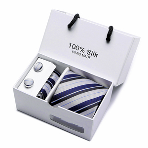 Image 4 - 2 pcs/lot 3.35inch(7 Cm) Wide Ensemble Silver Paisley Man Tie, Handkerchief and Cufflinks Gift Box Packing Many Color