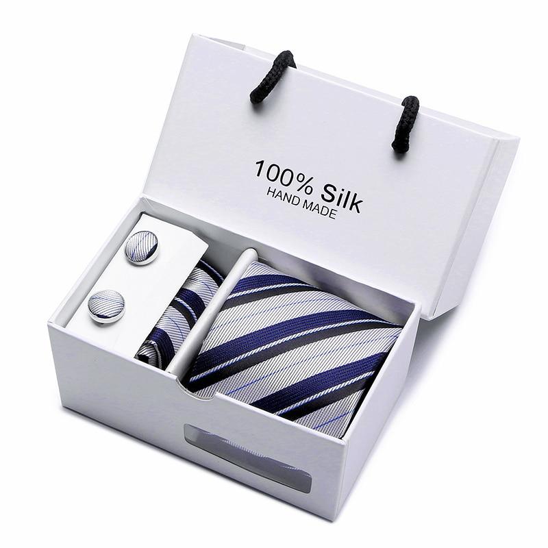 Image 4 - 2 pièces/lot 3.35 pouces (7 Cm) large Ensemble argent Paisley homme cravate, mouchoir et boutons de manchette boîte cadeau emballage beaucoup de couleur-in Cravates et mouchoirs homme from Accessoires de vêtements on AliExpress