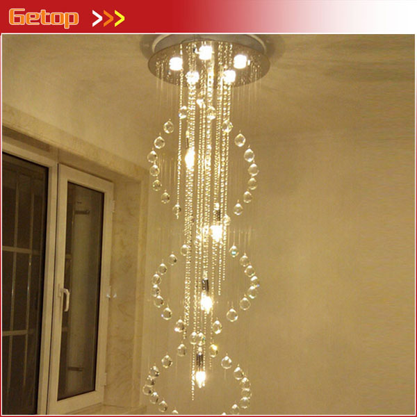 Modern Duplex Living Room Chandeliers Villa Staircase Crystal Chandelier lights Spiral LED Lights Indoor Lightings Free Shipping