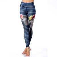 Mode de Remise En Forme Leggings pour Femmes Taille Haute Éléphant Floral Sportives Leggings Impression Pantalon Élastiques Sexy D'entraînement Slim Leggings