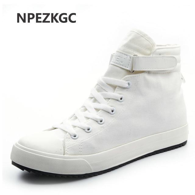 8d6e75b45 NPEZKGC Spring/Autumn Men Casual Shoes Breathable Black High-top Lace-up  Canvas Shoes Espadrilles Fashion White Men's Flats