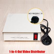 AC110V AC220V 1 в 4 из композита BNC разъем видео дистрибьютор 1-4CH video splitter усиления сигнала для видеонаблюдения DVR системы