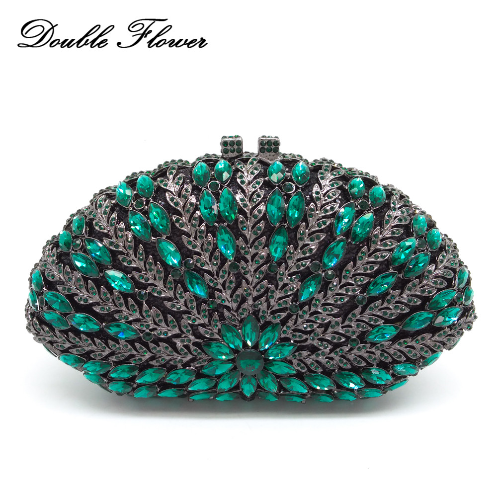Double Flower Hollow Out Vintage Women Flower Evening Bags Green Emerald Crystal Wedding Handbags and Purses Ladies Clutch Bag aidocrystal sexy ladies black crystal purses crystal flower pattern clutch evening bag