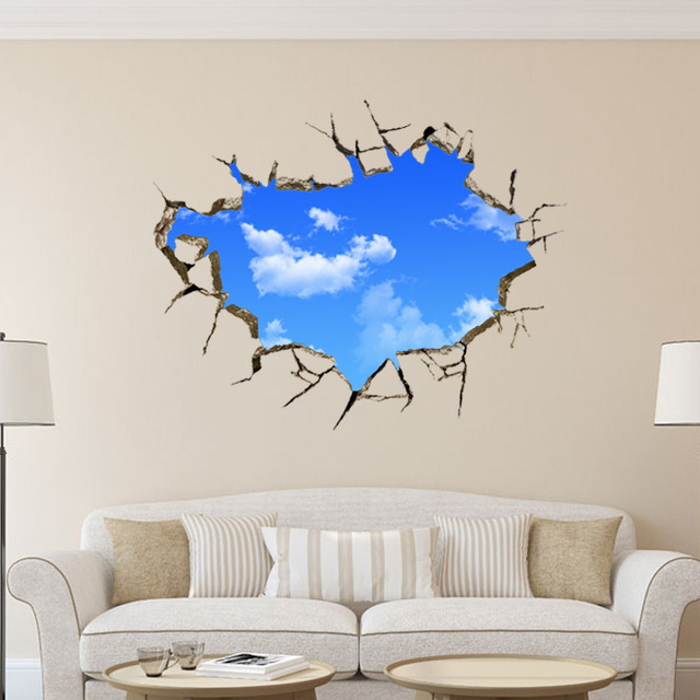 blue sky white clouds creative 3d wall sitting room adornment