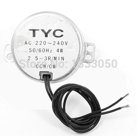 FREE SHIPPING 220-240VAC 4W Black Double Wires 2.5-3RPM/min Synchronous Motor for Micro Oven