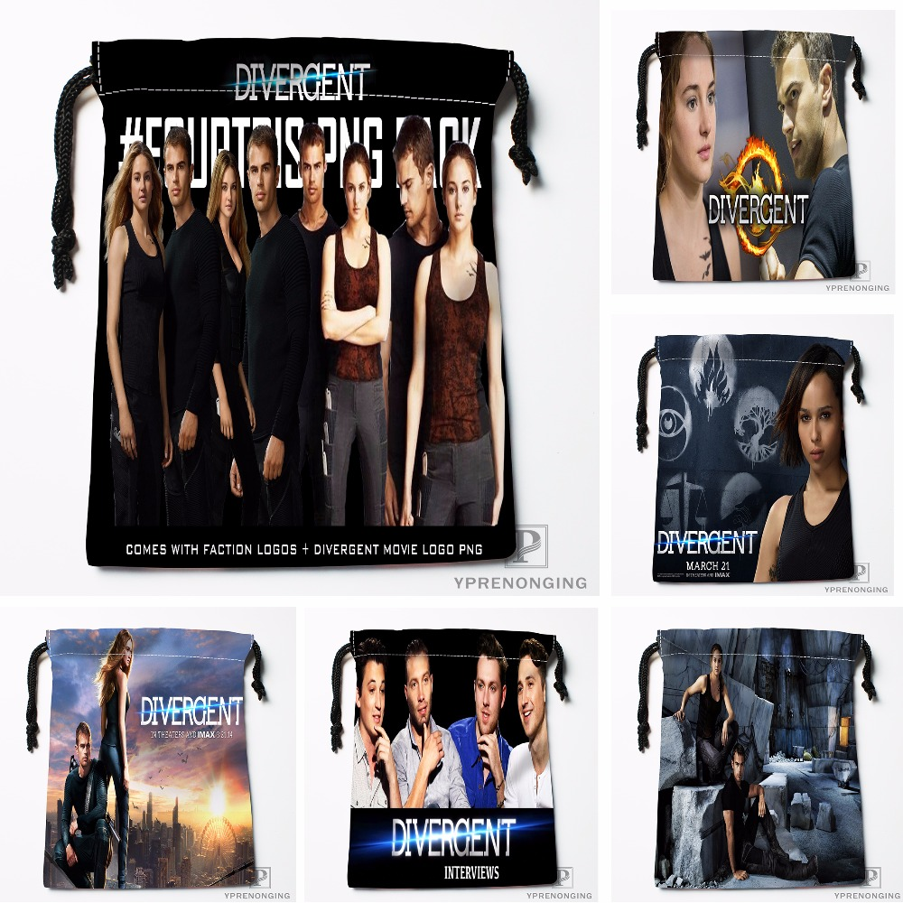 Custom Divergent Movie Drawstring Bags Printing Travel Storage Mini Pouch Swim Hiking Toy Bag Size 18x22cm#180412-11-74