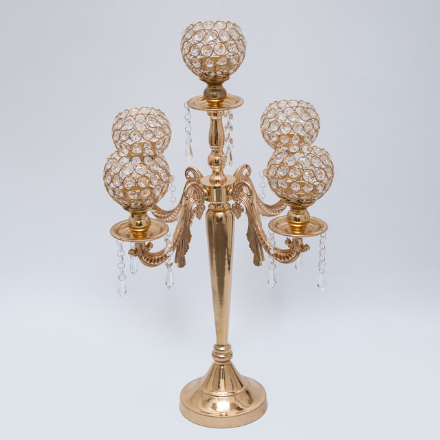 H62cm W34cm 5 Heads Crystal Candelabra Candle Holder Wedding