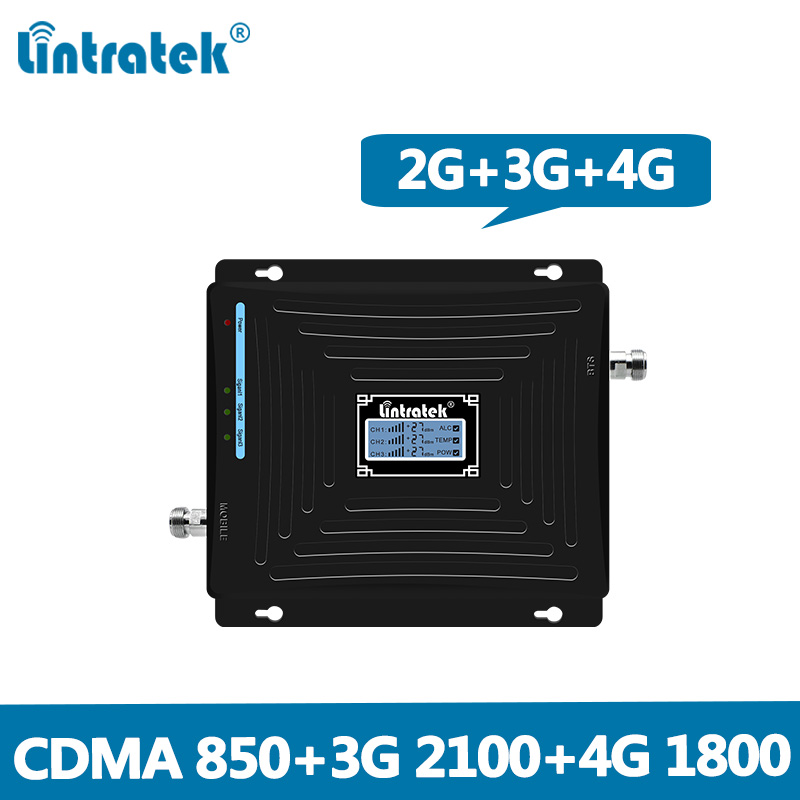 Lintratek 2G 3G 4G Signal Booster 850 1800 2100Mhz Repeater 2G 3G 850Mhz 2100Mhz 4G LTE 1800Mhz Amplifier CDMA WCDMA DCS @6