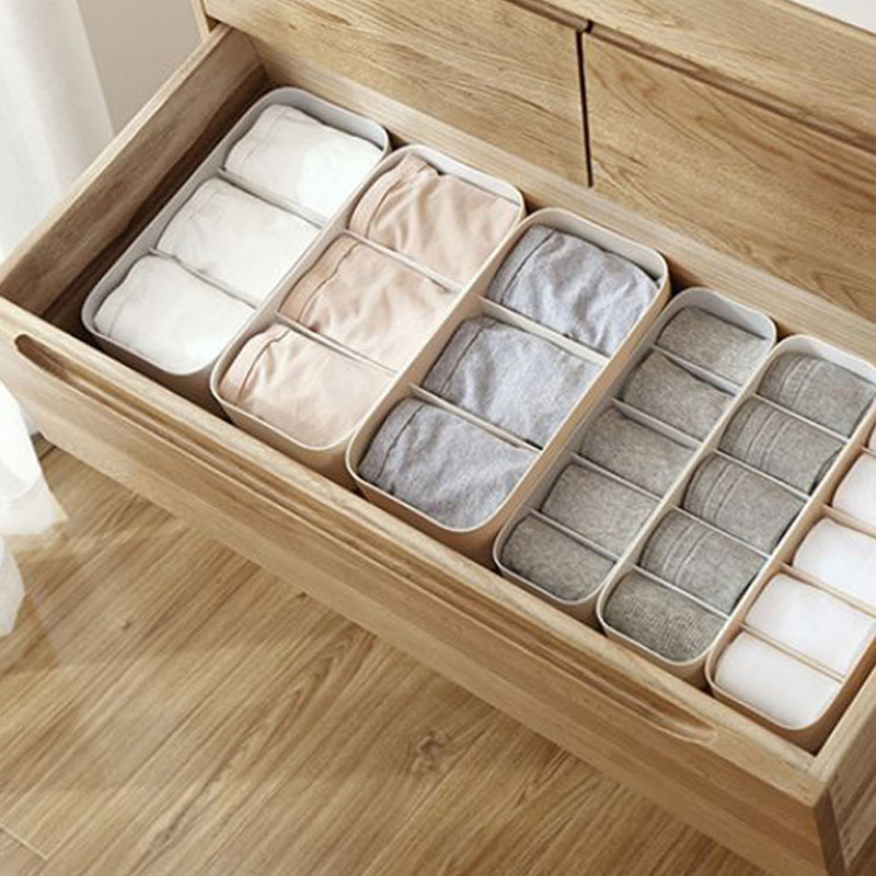 Plastic Underwear Organizer Storage Boxes Partition Drawer Closet <font><b>Organizers</b></font> Boxes For Bras Briefs Socks Ties Scarfs Cosmetic image