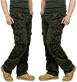 Men's Combat Multi-pockets Utility Casual Loose Long Full Length Cargo Pants Work Trousers Camouflage Pants Men