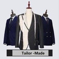 2018 новый бренд мужские костюмы портной костюм Блейзер Костюмы шерсть ретро джентльмен стиль на заказ для мужчин 2 шт. (куртка + брюки)
