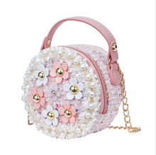 Flower Shoulder Bags Children PU Leather Messenger Bag Girls Crossbody Bag Kids Small Round Satchel Handbags for Children Gift