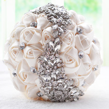 Doragrace Bridal Bouquet, Roses Flowers Crystal Pearl Wedding Bridesmaid Bouquet Ivory
