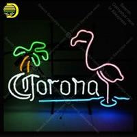 Comprar Corona con flamenco palmera Neon Sign tubo de vidrio hecho a mano Avize señal de luz