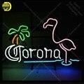 Corona mit Flamingo Palme Neon Zeichen Glas Rohr Handgemachte Avize neon licht Zeichen Schmücken Restaurant Ikonische Neon Licht Lampen-in Neonröhren & Röhren aus Licht & Beleuchtung bei