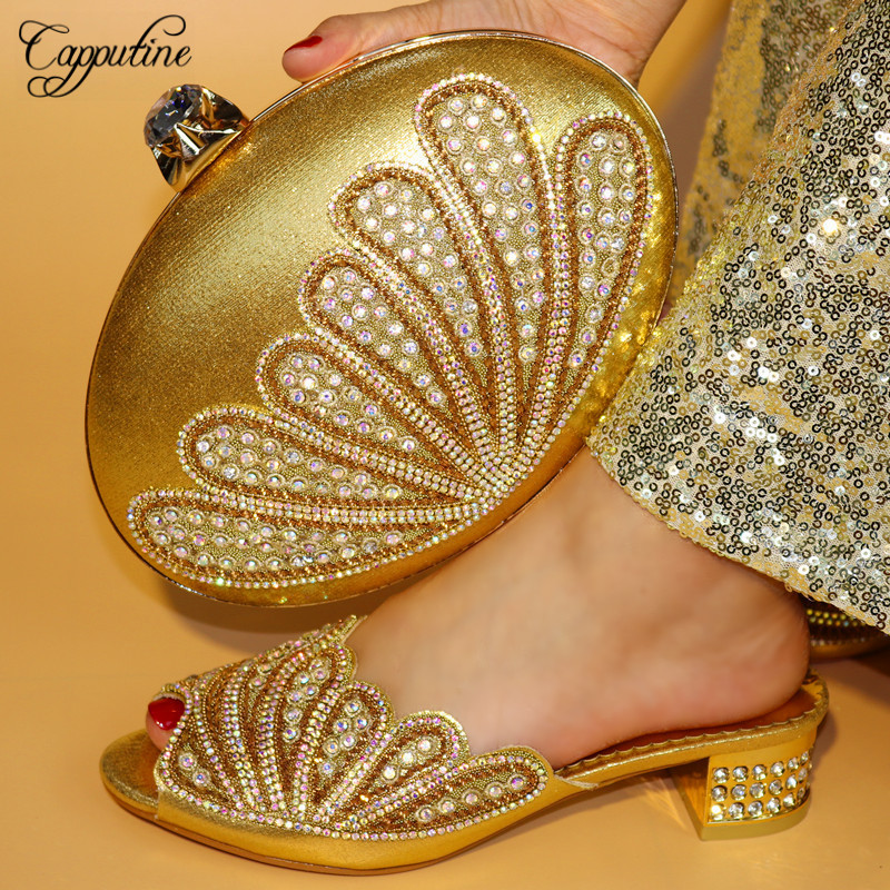 Capputine Nigeria Rhinestone Woman Low Heels 5CM Shoes And Bag To Match Set African Shoes And Bag Set For Party On Sale capputine nigerian style woman yellow shoes and bag set for party african rhinestone middle heels shoes and bag set size 37 43