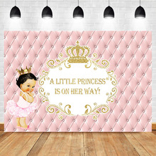 Royal Girl Baby Shower Backdrop Gold Crown Pink Princess Photography Backgroung Decorations Supplies Backdrops