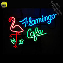 "19*15""FLAMINGO CAFE NEON SIGN Signboard REAL GLASS BEER BAR PUB Billiards display Restaurant Shop Neon Light Sign Dropshipping(China)"