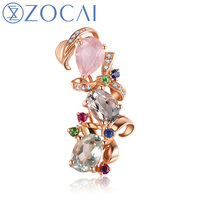 ZOCAI New Arrival 2 0 CT Certified Colored Topaz Pendant With 0 14 CT Diamond In