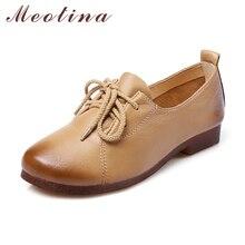 Meotina/натуральная кожа обувь Женские туфли-лодочки круглый носок Туфли-оксфорды на шнуровке из натуральной кожи Повседневная водонепроницаемая обувь коричневый розовый Размеры 34–40