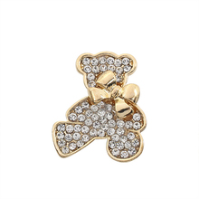 Exquisite Fashion Full Rhinestone Bear Brooch Jewelry Sweet Luxury Bow Animal Charm Lady Holiday Gift
