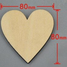 48pcs/bag 80mm Blank unfinished wooden heart crafts supplies laser wood Wedding decoration