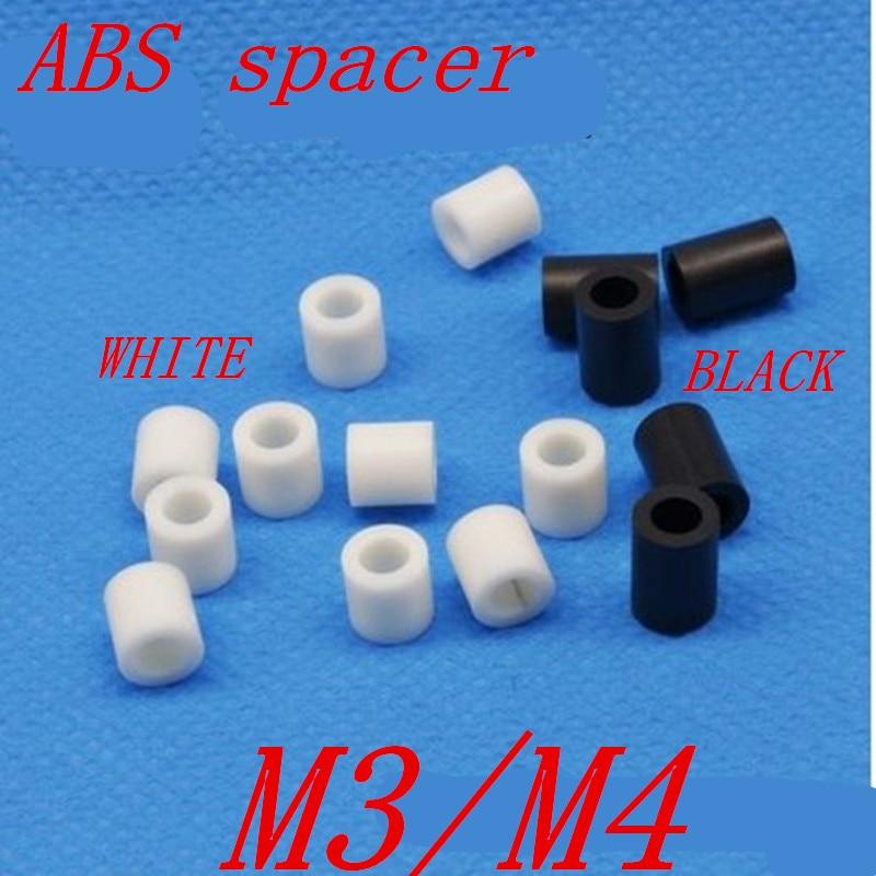 50pcs M3 M4 m5 m6 white or black ABS Rround spacer standoff White Nylon Non-Threaded Spacer Round Hollow Standoff Washer