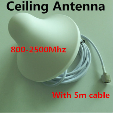 850~2500MHz Indoor Ceiling Antenna With N Male Connector + 5m Cable For Gsm 3G Cdma Dcs Signal Booster Repeater
