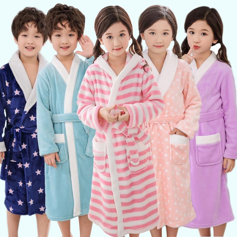 New Winter Warm Bathrobe For Children Lengthened Flannel Robes 5-14 Years Girls And Boys Striped Sleepwear Cotton Kids Bathrobe