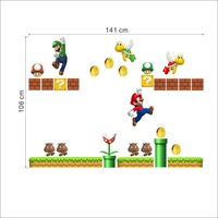 Vintage Home Decor Cartoon Stickers Super Mario Wall Stickers For Kids Rooms Children Wall Stickers Bedroom