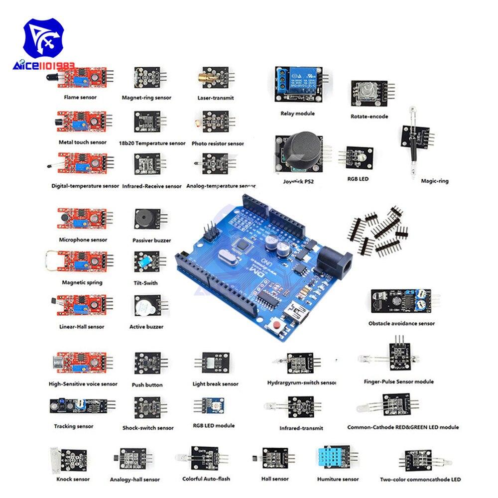 37 em 1 Sensor Kit com UNO R3 CH340 R3 Microcontrolador Placa de Desenvolvimento Do Módulo para Arduino UNO MEGA Nano