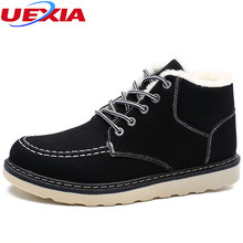 UEXIA Winter Men Snow Ankle Boots With Fur Warm Rubber Shoes Men Outdoor Work  Footwear High Top Non-Slip Walking Flats Casual