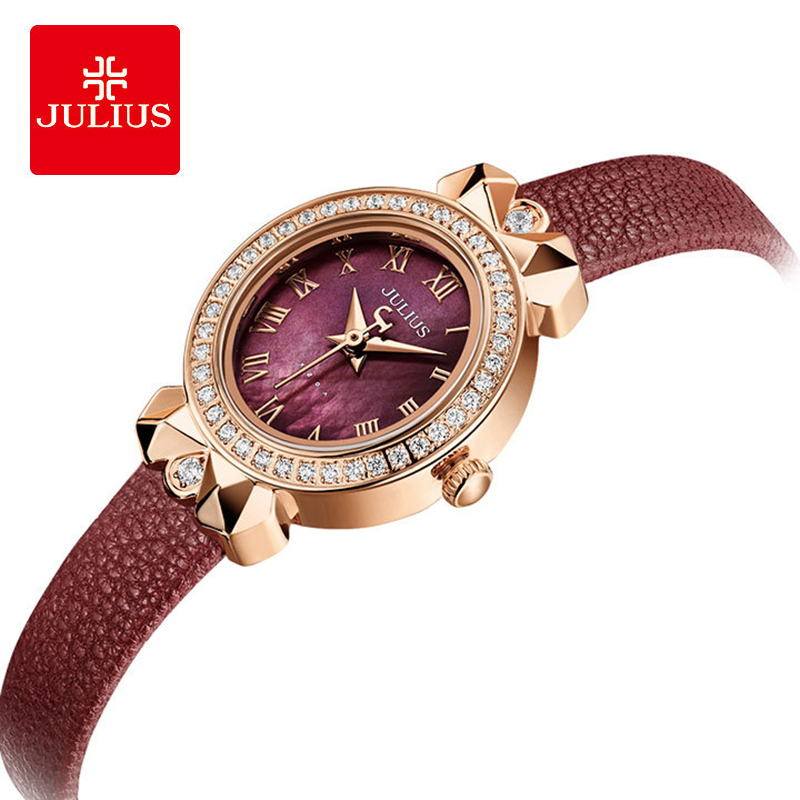 Julius Luxury Crystal Oval Fritillaria Dial Leather Watches Woman Waterproof Quartz Wristwatches Bow Lugs Dress Watch Gift Women's Watches     - title=