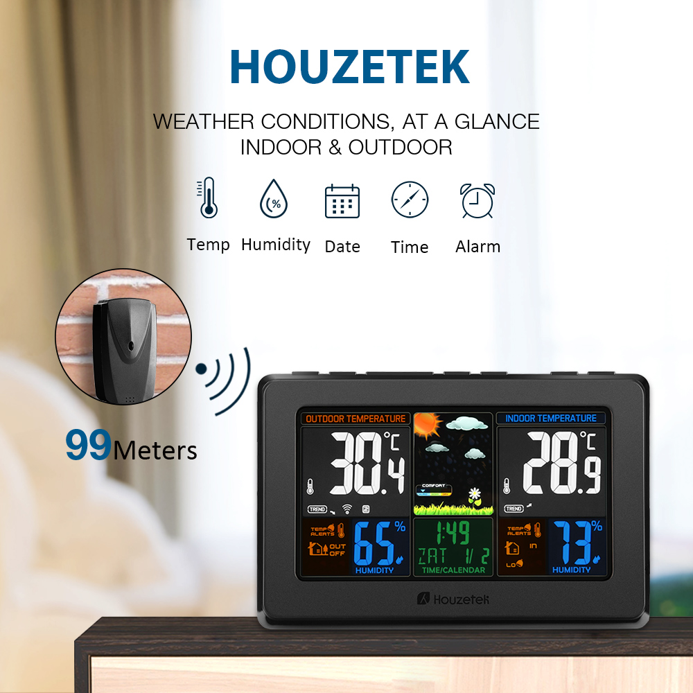 Wireless Digital Thermometer Hygrometer LCD Touch Screen Weather Station Temperature Humidity Forecast Sensor Indoor Outdoor Z20 clear lcd screen digital thermometer white