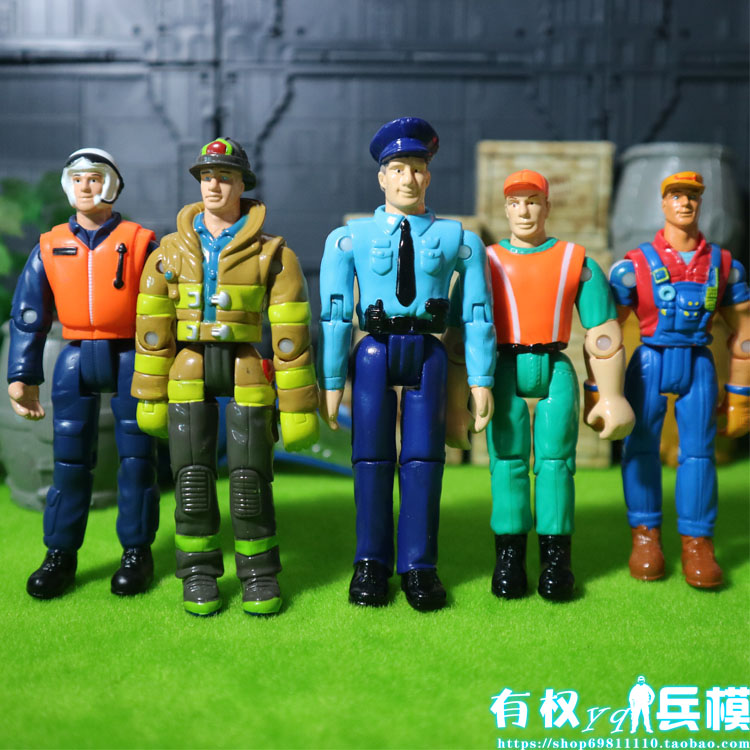 3.75 inch doll police firefighters maintenance sanitation workers hand model of movable toy soldier 5pcs/set паяльник bao workers in taiwan pd 372 25mm