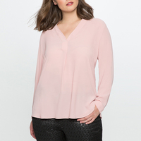 High Quality 2017 Fall Plus Size Feminino OL Clothes Long Sleeve Chiffon Blouse Open Stitch V